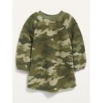 Crew-Neck Sherpa Dress for Toddler Girls