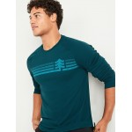 Go-Dry Thermal-Knit Graphic Long-Sleeve Tee for Men