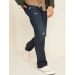 Built-In Flex Dark-Wash Ripped Boot-Cut Jeans for Men