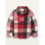 Plaid Flannel Pocket Shirt for Toddler Boys