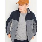 Go-Warm Color-Block Sweater-Fleece Hybrid Jacket for Men