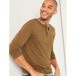 Soft-Washed Long-Sleeve Henley Tee for Men