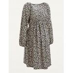 Maternity V-Neck Waist-Defined Long-Sleeve Dress