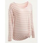 Maternity Striped Side-Twist Long-Sleeve Top