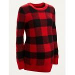 Maternity Cozy Plaid Crew-Neck Sweater