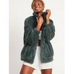 Cozy Teddy Sherpa Zip Lounge Jacket for Women
