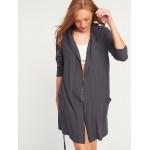 Cozy Hooded Tie-Belt Robe for Women