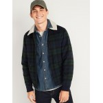 Plaid Wool Sherpa-Collar Bomber Jacket for Men