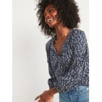Ruffled Tie-Neck Floral-Print Poet Blouse for Women