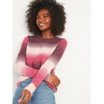 Cozy Ombré-Stripe Crew-Neck Sweater for Women