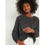 Oversized Ladder-Lace Yoke Blouse for Women
