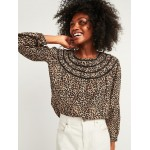 Oversized Printed Ladder-Lace Yoke Blouse for Women