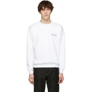 Reversible White Classic Garage Crewneck Sweatshirt