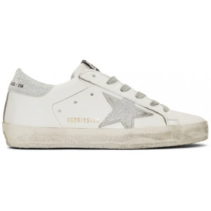 SSENSE Exclusive White Glitter Superstar Sneakers
