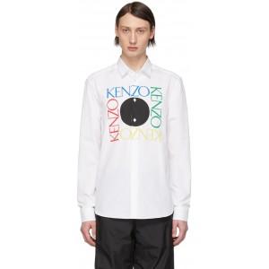 White Square Logo Slim-Fit Shirt
