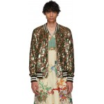 Green GG Sequin Bomber Jacket