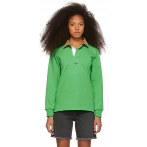 Green Corduroy Collar Rugby Polo