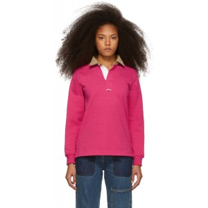 Pink Corduroy Collar Rugby Polo