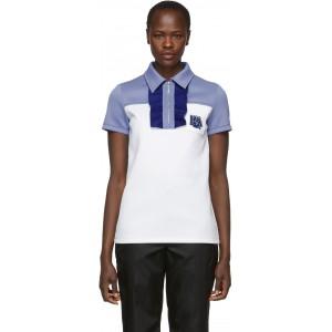 White & Blue Logo Zip Polo