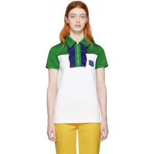White & Green Zip Polo