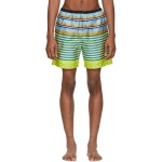 Yellow & Blue Multi Line Swim Shorts