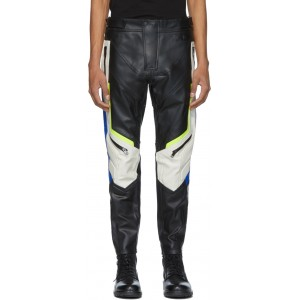 Black & Off-White Leather Astra-PTRE Trousers
