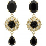 Gold & Black Strass Evening Clip-On Earrings