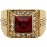 Gold & Red Square Ring