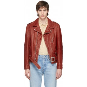 Red Hand Vintaged Leather Perfecto Motorcycle Jacket