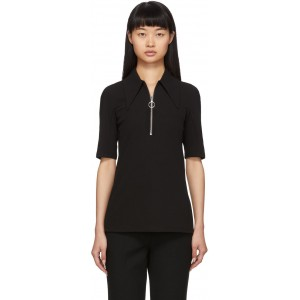 Black Crepe Structured Polo