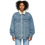 Blue Denim Sherpa Big & Tall Type 3 Trucker Jacket