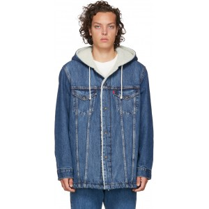 Blue Denim Sherpa Hooded Long Trucker Jacket