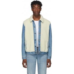 Blue & Off-White Sherpa Panel Trucker Jacket