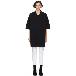 Black Oversized Cut-Out Polo