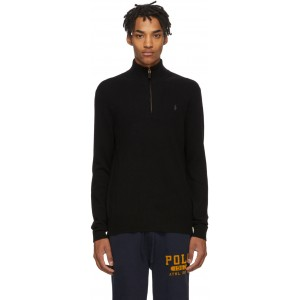 Black Wool Half-Zip Sweater