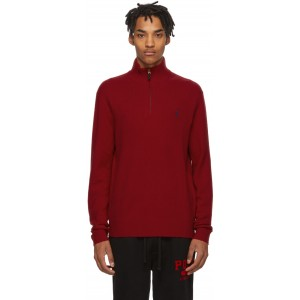 Red Wool Half-Zip Sweater