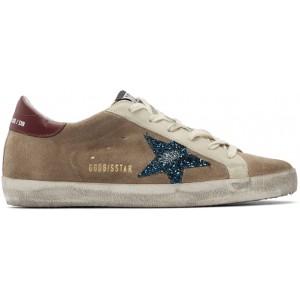 Beige & Blue Suede Superstar Sneakers