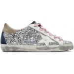 Silver & White Glitter Superstar Sneakers