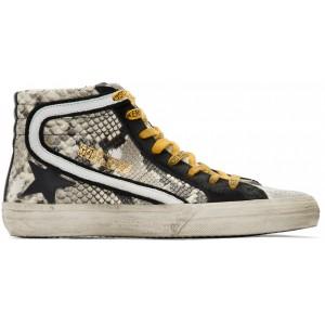 Grey & Black Snake High-Top Sneakers