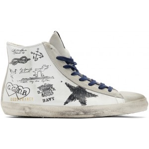 White Leather Message Francy Sneakers