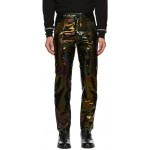 Black Iridescent Leather Trousers