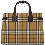 Beige & Burgundy Vintage Check Medium Banner Tote