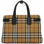 Beige & Black Vintage Check Small Banner Tote