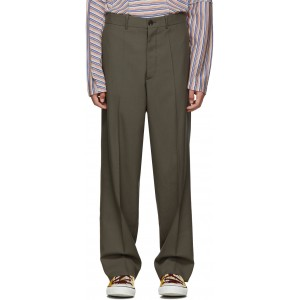 Grey Tropical Wool Straight Trousers
