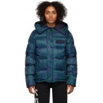 Blue & Green Down Moire Tiger Puffer Jacket