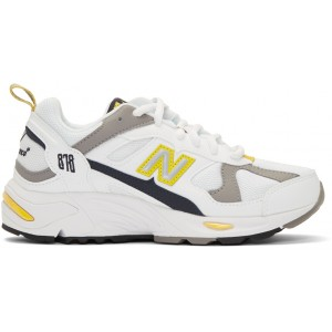 White & Yellow 878 Sneakers