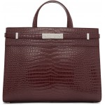 Burgundy Croc Small Manhattan Bag