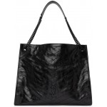 Black Large Quilted Tote Bag