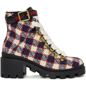 Red & White Check Tweed Ankle Boots