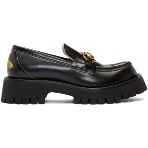 Black Leather Lug Sole Loafers